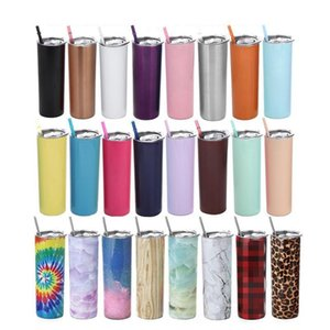 20oz Stainless Steel Skinny Tumbler Lid Straw CoffeeCup Wine Tumblers Mugs Portable Double Wall Vacuum Insulated Cup Bottles SEA WAY DHF2978