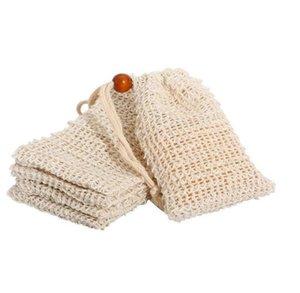 Pochette savonneuse Naturel Ramie Mesh Bar Savon Sac de gommage pour la location Exfoliant et séchage de la poche à savon sac à mailles maison avec cordon de serrage 7755