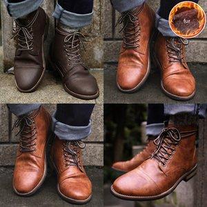HBP Masorini PU Chaussures à lacets en cuir PU Hommes de haute qualité Hommes Vintage Britannique Bottes d'automne Hiver Plus Taille 47 48 BRM-060 Q1217