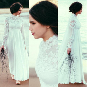 2021 Cheap High Neck Beach A Line Wedding Dresses With Long Sleeve Lace Empire Waist Country Bohemian Pregnant Bridal Wedding Gowns Cheap