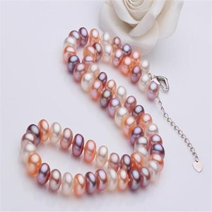 Unforgettable + 9-10mm Flat Round Pearl Necklace18 Inch Love Extension Buckle, 100% Natural Freshwater Pearl Necklace