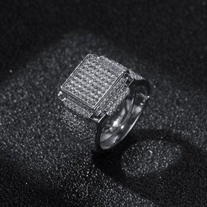 Hip Hop Mens Jewelry Rings Diamond Iced Out Bling Rings High Quality Fashion Gold Silver Ring