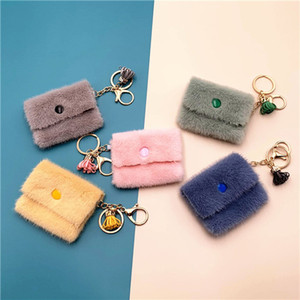 Mini Coin Purse Keychain Candy Color Cute Coin Key Case Backpack Bag Card Purse for Women Girls