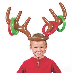 Christmas Game Inflatable Reindeer Antler Hat Ring Toss Christmas Gift for Kids Navidad Natal New Year Gift Game Xmas Decor Noel