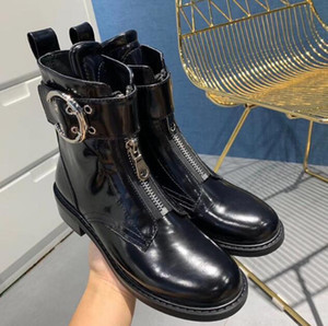 Woman Roy Ankle Boots Roy Bootie In Semi-shiny Calfskin Strap Timeless Metallic Buckle Zip Boots New Release Shoes
