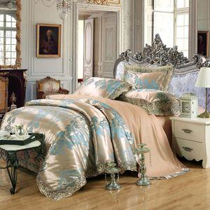 Hot sale 100%cotton Jacquard tribute silk tencel satin duvet cover bedsheet pillowcase brand bed cover quilt bedclothes