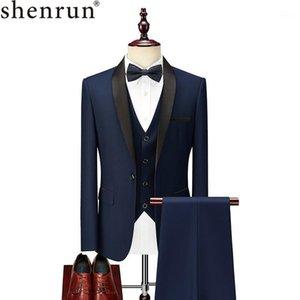 Shenrun Uomini Vestito Tuxedo Groom Wedding Smokings Pront Ball Banquet Abiti formale Matrimonio Sera cena Tre pezzi Scialle Risangel1