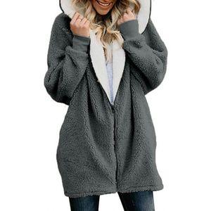 Capitales à glissière Faux Fourrure Manteau Femmes 2020 Automne Hiver Chaud Solide Longue Veste à fourrure De Cheval de poche de peluche de peluche avec capuche