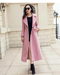 Vintage Woolen Coat Femmes Automne Hiver Nouveau Pink Pink Plus Taille Coat Femme Section Long Section Dame Elegant 2XL1