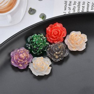 Transparent Diy Patch jewelry gold foil jelly purple rose flower resin halfpatch diy ear studs jewelry material