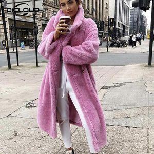 2020 Faux Lambswool Fur Coats Long Teddy Bear Jacket Coat Winter Warm Oversized Outerwear Women Thick Overcoat