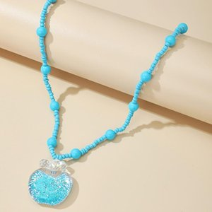 Brling New 2020 Fashion ins vintage Chain Pendant Choker Green rice beads apple Necklace for women Girls Gifts Party
