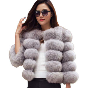 S-4XL Mink Coats Women 2020 Winter Top Fashion Pink FAUX Fur Coat Elegant Thick Warm Outerwear Fake Fur Jacket Chaquetas Mujer
