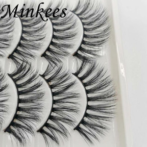 Minkees 5Pairs 3D Mink Hair False Eyelashes Natural Thick Long Eye Lashes Wispy Makeup Beauty Extension Tools
