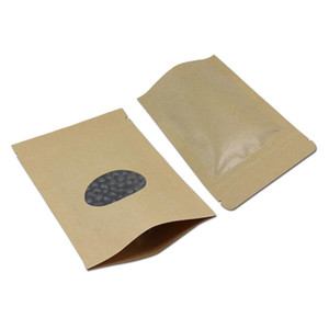 200pcs Lot Kraft Paper Zip Lock Food Package Bag Stand Up Pouch Ziplock With Oval Clear Window Coffee Tea Nuts Snacks Pack H jllgat