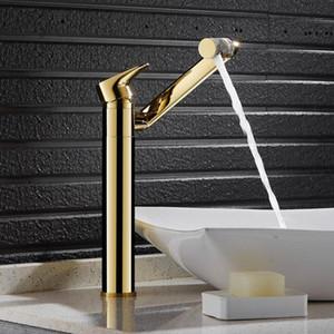Deck montado en la cascada de oro cepillada Faucet de latón Baño Grifo Baño Baño Mezclador Toque Fregadero frío y frío D-039