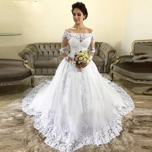 Off Shoulder Long Sleeves Lace Wedding Dresses 2021 with Beaded Appliques Court Train Tulle A Line Wedding Bridal Gowns