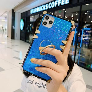 Compatible for iPhone 11 Case, Elegant Premium Bling Square Protective with Shock Absorption Metal Decoration Corner Back Case with Crysta