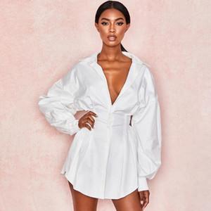Женская осень с длинным рукавом сплошной отворот рубашки мини-платья повседневные свободные топы блузка