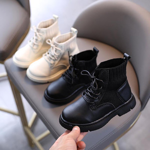 2020 New Autumn Kids Martin Boots Girls Fashion Short Ankle Snow Boots Girls Princess Leather Socks Boys Casual Shoes