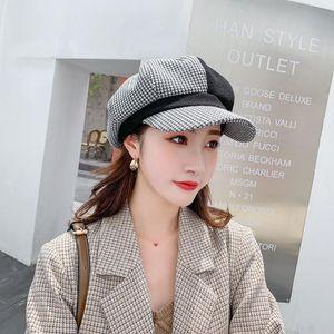 Luxury-Autumn Women Wool Berets Fashion Retro Color Matching Octagonal Cap Female Thick Warm Winter Hats Lady Hat
