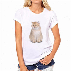 Innovation Women Clothes 2021 Cute Real Cat Printed Round Neck T Shirt Woman Casual Fashion Funny Pattern Kawaii T shirt