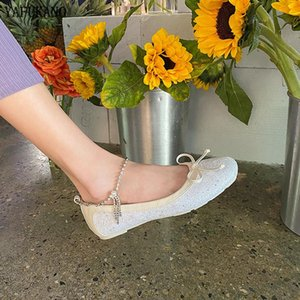 Shiny Bling Flat Single Shoes Sweet Butterfly-Knot Fairy Style Casual Flats Party Dress Shoes Soft Comfort Square Toe Peas