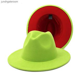 Cap Jazz Formal Hat Lady Felt Fedora Panama Hats fashion Patchwork wide Brim caps Unisex Trilby Chapeau for Men Women Re