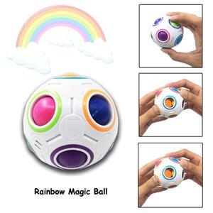Colorful Creative Compression football Toys Rubik's Cube Magic Rainbow Ball Intelligence decompression Rubik's Cube Vent set Kids Gift Z444