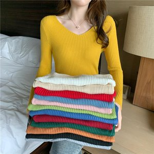 of new fund of 2020 autumn winters in a v-neck sweater tight thin sweater female basic render unlined upper garment