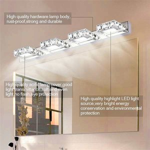 Newest Design 12W Four Lights Crystal Surface Bathroom Bedroom Lamp Warm White Light Silver Art Decor lighting Modern Waterproof Wall Lamps