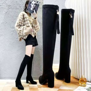 2019 Designer Luxury women's heels autumn and winter Knitted elastic boots Sexy socks and Knee Boots Fashion stockings shoes Long boots