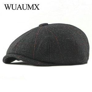 Wuaumx Retro Newsboy Caps Men Octagonal Hats Black British Painters Hats Autumn Winter Berets Herringbone Flat Caps gavroche1