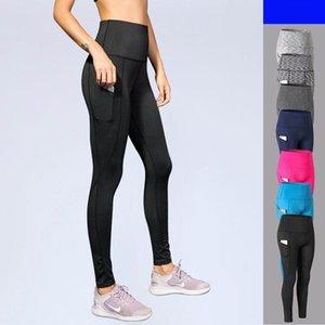 Сплошной цвет Высококачественные женские йоги Брюки с высоким содержанием талии Спорт тренажерный зал Носить Леггинсы Эластичная Фитнес Леди Открытый спортивные штаны