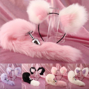 Cute ears Headbands with Fox   Rabbit Tail Metal Butt Anal Plug Erotic Cosplay Accessories Adult Sex Toys for Couples 201130