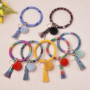 Plush Ball Leather Wrap Key Ring Plush Ball Leather Wrap Key Ring Wristband Sunflower Keychain Wristlet LLA34