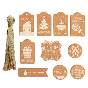 200pcs set DIY Kraft Paper Christmas Tag Card with Twine Hang Tag with Rope Christmas Product Set