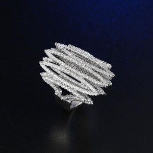 FYM Brand New Fashion Design Silver Color Cubic Zirconia Ring Prom Hollow Out Bling Rings Hot Big Waves Women Rings For Party