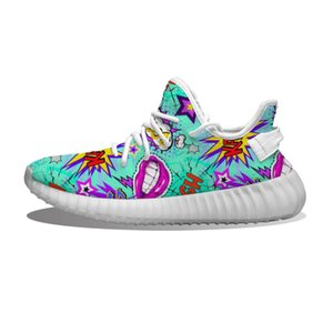 Mens Womens Shoes Bomb OMG LOL Wow Super Blue Comic Pattern Kanye West Casual Sports Trainers Gym Sport Fitness Sneakers