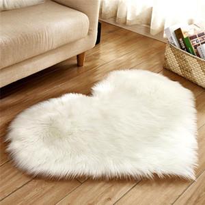 Plush Heart Shape Mat Living Room Office Imitation Wool Carpet Bedroom Soft Home Non Slip Rugs CCF3575