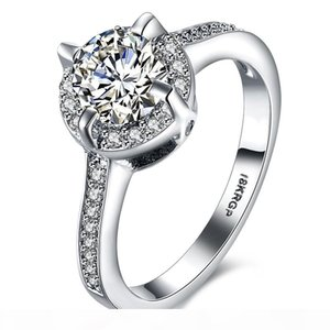 K Hot Sell 18krgp Unique Jewelry Zircon Stone Ring White Gold Filled Wedding Engagement Rings For Women Men