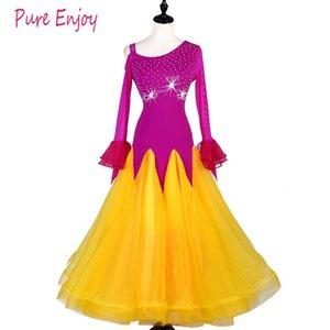 Senior diamond Ballroom Dance Dress Women Waltz Tango Dance Performance Clothes Elastic Force Gauze Lace Big Swing Dresses