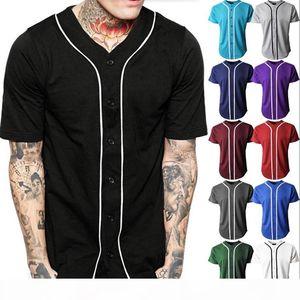 Black Baseball Jersey Men Short Sleeve V Neck Mens Buttons Tee Shirt Homme Baseball Shirt Men Women Soft Breathable Hip Hop Tops