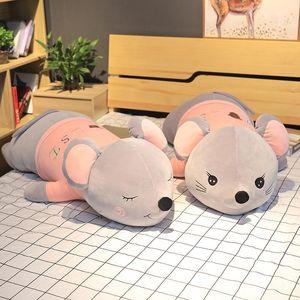Simulation Funny Mouse Plush Toy Soft Cartoon Animal Gray Long Mouse Stuffed Doll Sofa Nap Pillow Cushion Gift