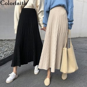 Colorfaith 2019 Women Autumn Winter Knitted Midi A-Line Skirts Mid-Calf Empire Korean Style Elegant Fashion Solid Skirt SK4240 A1121
