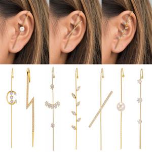 Bohemian Wedding Ear Wrap Crawler Hook Earring Crystal Stud Earrings for Woman Lightning Zirconia Climber Earrings Jewelry Gift