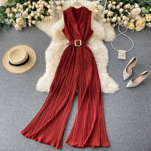 Women Retro Fashion One-Piece Suit Collar Sleeveless High Waist Slim High Waist Wide Leg Jumpsuits Solid Color Overalls P208