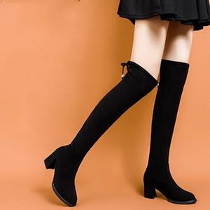 Oficina de las señoras Mujeres de felpa cálida sobre las botas altas de la rodilla Tela elástica de las mujeres Lace Up High Shick Tacones Mujer elegante Calzado 2020