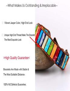 Chakra Bracelet Jewelry Handmade Multi Color Natural Stone Tube Beads Leather Wrap Bracelet Couples Bracelets Gifts jllQpQ