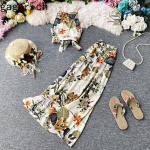 Gagarich 2 Piece Set Women Slash Sexy Crop Top Long Skirt Beach Bandage Bohemian Printed Straps Summer Women Elegant 2020 NewZ1128